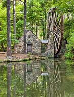 Berry Schools Old Mill and pond reflection - Mount Berry, Georgia