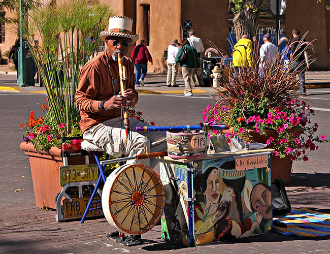 Santa Fe street entertainer -  Santa Fe Railyard, New Mexico