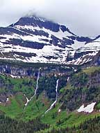Roadside Mountain and Waterfalls - Glacier National Park, MT