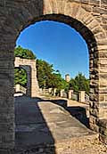 Ha Ha Tonka Castle Arch with water tower in the distance