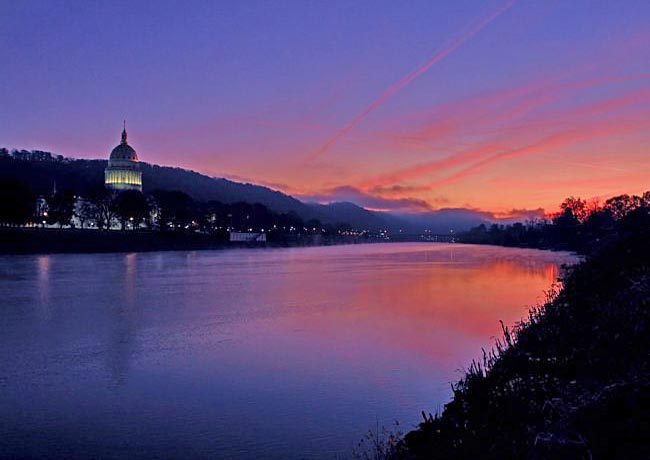 Kanawha River and Charleston Capitol Building- Midland Trail National Scenic Byway, West Virginia
