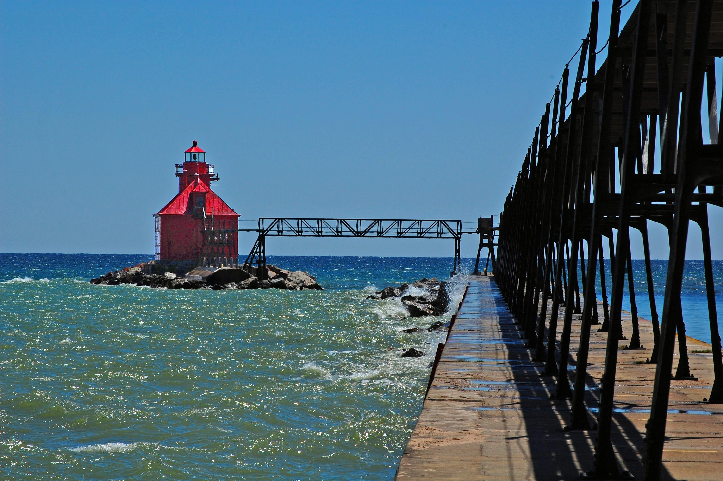 North Pierhead Lighthouse, Lake Michigan - Wisconsin Rustic Road 77