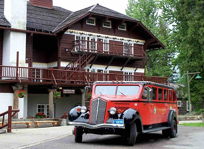 1930s era Red Tour Bus - Glacier National Park, Montana