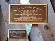 Stevens Bridge Plaque - Bascom Art Center, Highlands, North Carolina