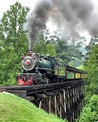 Tweetsie Railroad Locomotive crossing over a tressel