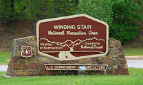 Winding Stair National Recreation Area welcome sign - Talimena Scenic Byway, Oklahoma